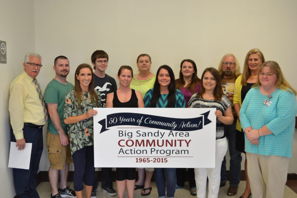 Big Sandy Area Community Action Program joined the 2016 recipients of the Community Services Block Grant Scholarship for a group picture. Front row: Olivia Adkins, Sasha Kidd, Johnda Adams, Caitlin Little, CSBG Manager Kim Vicars. Back row: Executive Director Mike Howell, Tommy Adkins, Austin Tyler Hall, Diana Hall, Casondra Smith, Reaford May Jr., Deputy Director Wanda Thacker.